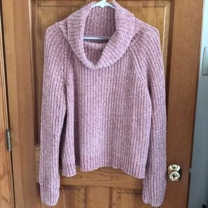 Pink softest chenille turtleneck sweater